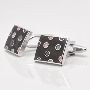 Multi Coloured Epoxy Spotted Cufflinks