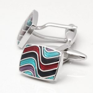 Multi Coloured Epoxy Wave Cufflinks