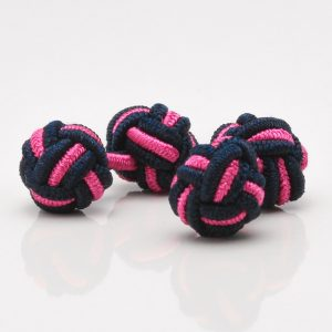 Navy Blue & Pink Knot Cufflinks