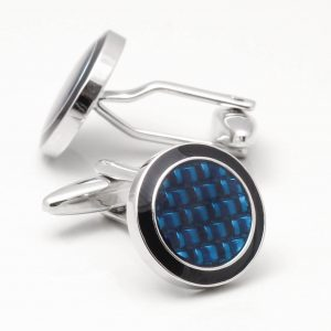 Navy Enamel & Blue Epoxy Cufflinks