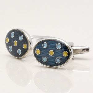Navy with Yellow & Blue Spotted Cufflinks