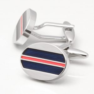 OVAL NAVY & RED ENAMEL STRIPE CUFFLINKS