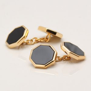 Onyx Octagon Cufflinks, Double Sided