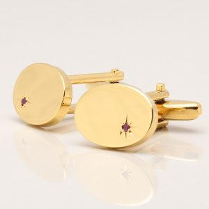 Oval Gold Ruby Cufflinks