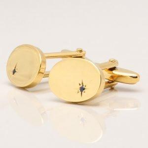 Oval Gold Sapphire Cufflinks