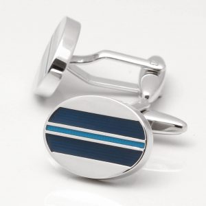 Oval Navy & Light Blue Enamel Stripe Cufflinks