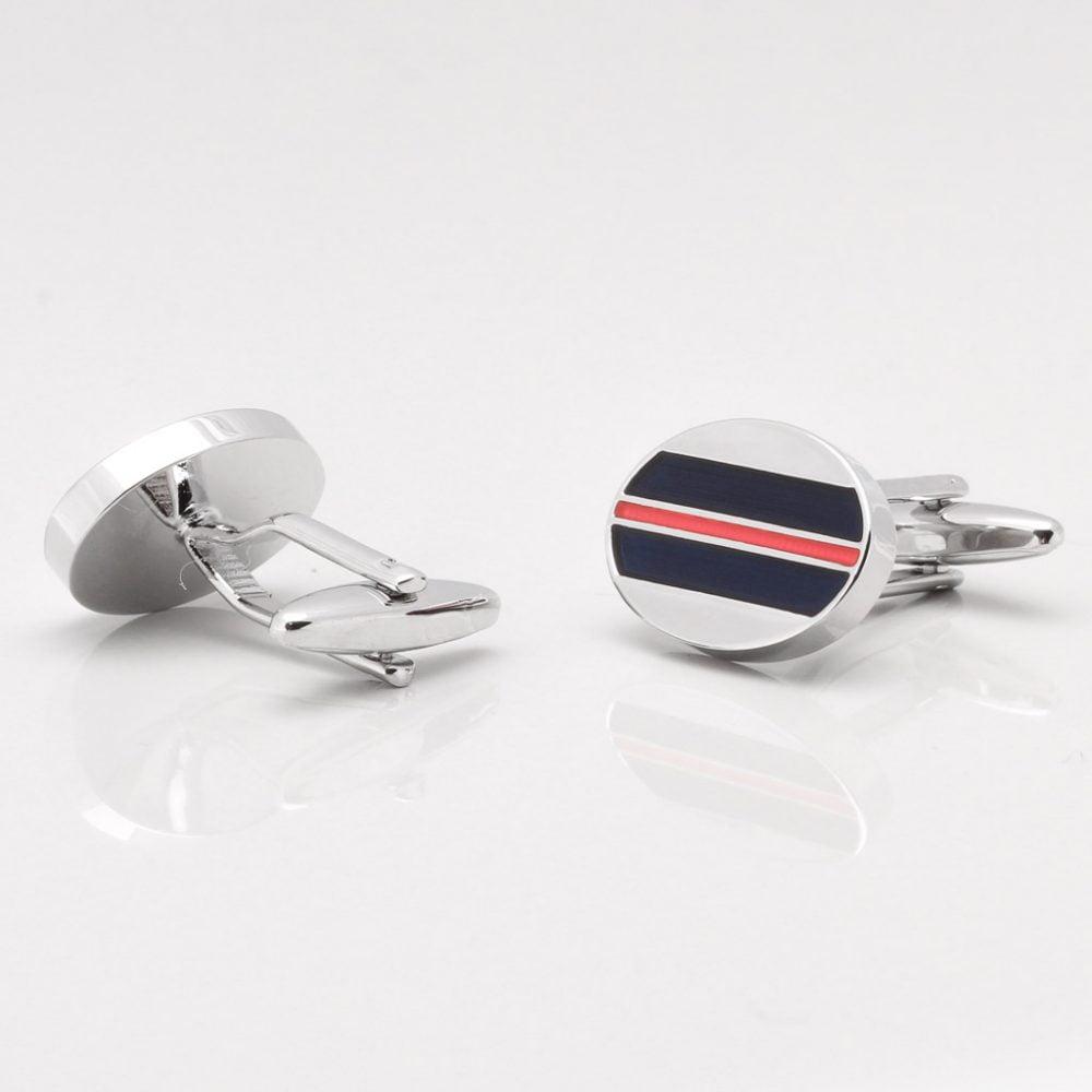 Silver Striped Red Enamel Cufflinks