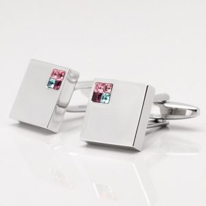 PINK & BLUE CORNER CRYSTAL CUFFLINKS