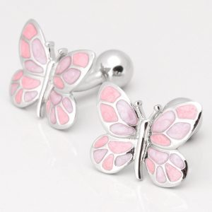 PINK & PURPLE BUTTERFLY CUFFLINKS