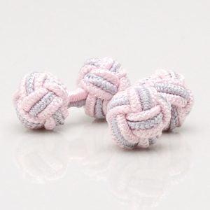 Pink & Grey Knot Cufflinks