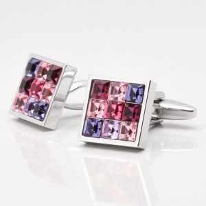 Pink Toned Crystal Cufflinks