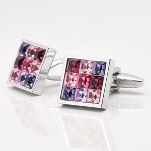 Pink Toned Crystal Cufflinks