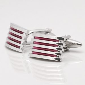 Purple Enamelled Grid Cufflinks