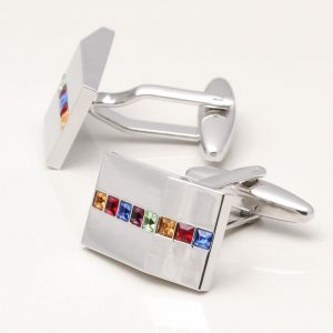 Rectangular Angled Crystal Cufflinks
