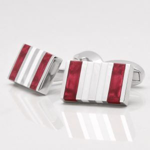 Red & White Rectangular Cufflinks
