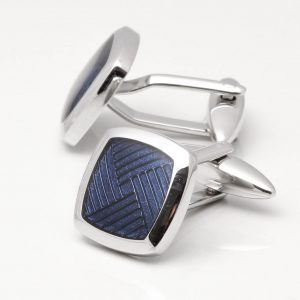 Rhodium Blue Epoxy Cufflinks