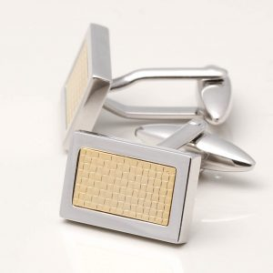Rhodium Cufflinks with Gold Plated Lattice Centre