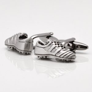 Rhodium Football Boot Cufflinks
