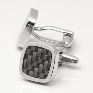 Rhodium Grey Epoxy Cufflinks