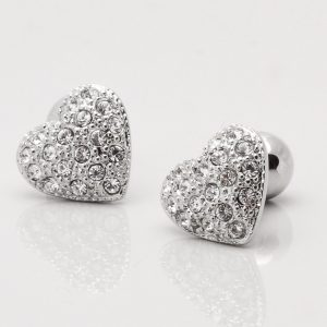 Rhodium Heart Cufflinks with Clear Crystals