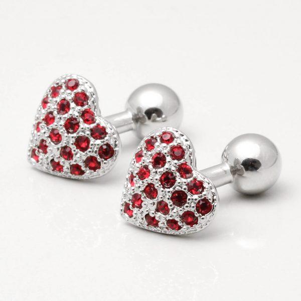 Rhodium Heart Cufflinks with Siam Crystals
