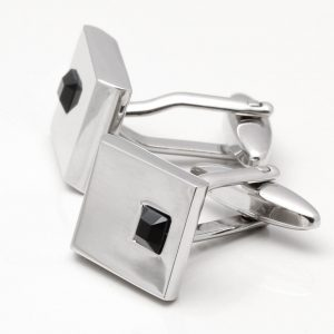 Rhodium Jet Crystal Cufflinks
