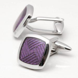 Rhodium Purple Epoxy Cufflinks