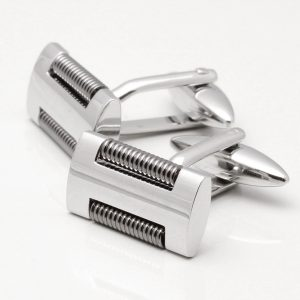 Rhodium Rectangle Cufflinks with Spiral Inserts