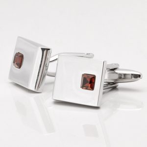 Rhodium Smoked Topaz Crystal Cufflinks