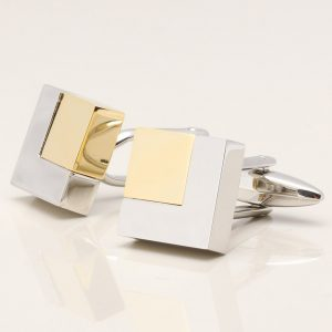 Rhodium Square Cufflinks with Gold Plated Corners