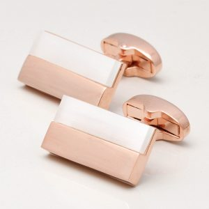 Rose Gold Rectangular White Lined Cufflinks