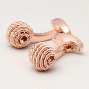 Rose Gold Spiral Ball Cufflinks