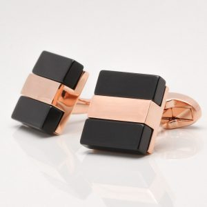 Rose Gold with Black Cufflinks