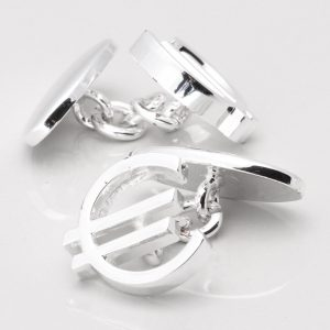SILVER PLATED EURO CUFFLINKS