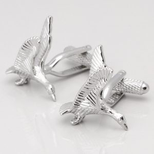 SILVER PLATED FLYING DUCK CUFFLINKS