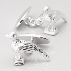 SILVER PLATED PHEASANT CUFFLINKS
