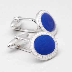 STERLING SILVER BLUE ENAMEL CUFFLINKS