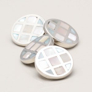 STERLING SILVER DOUBLE SIDED MOTHER OF PEARL BLUE CUFFLINKS