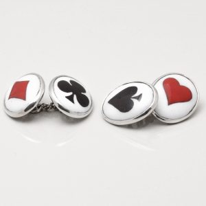 STERLING SILVER ENAMELLED CARD SUIT CUFFLINKS