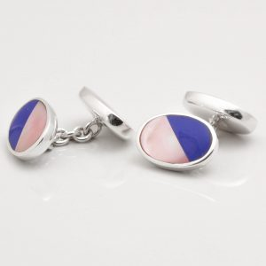 STERLING SILVER LAPIS & PINK SHELL CUFFLINKS