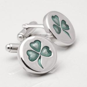 STERLING SILVER SHAMROCK CUFFLINKS