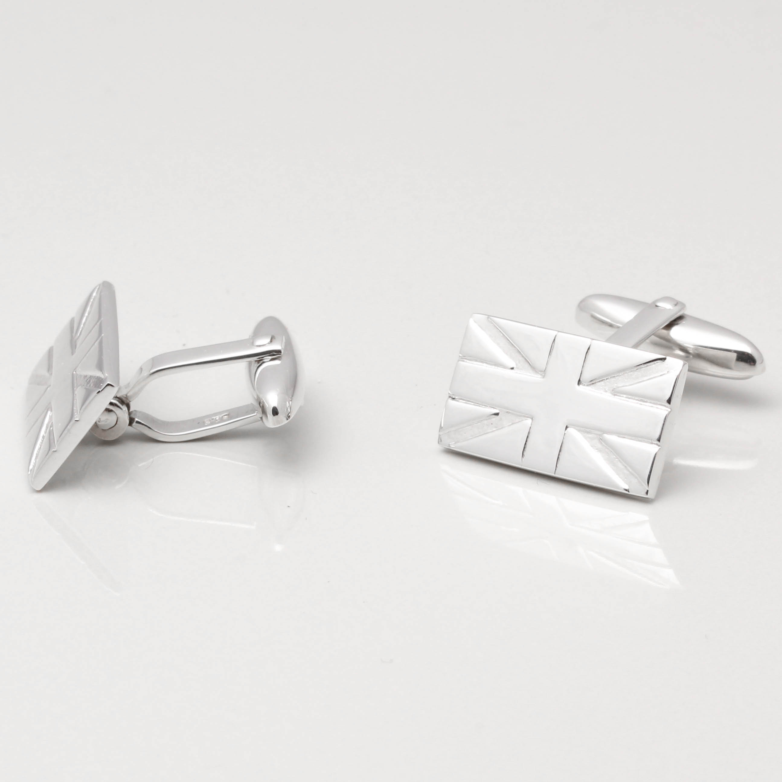 Sterling Silver Union Jack Cufflinks By Badger