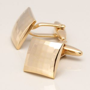 Shiny Gold Plated Curved Square Cufflink