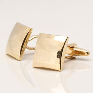 Shiny Gold Plated Curved Square Cufflinks