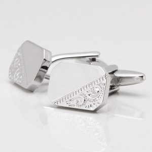 Silver Classic Motif Octagon Cufflinks