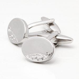 Silver Classic Motif Oval Cufflinks