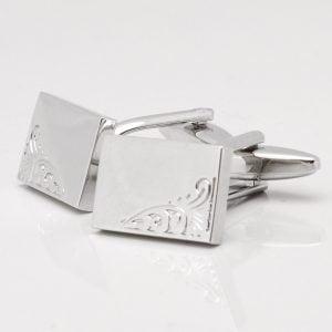 Silver Classic Motif Rectangular Cufflinks