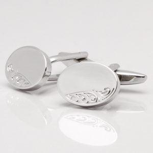Silver Motif Oval Cufflinks