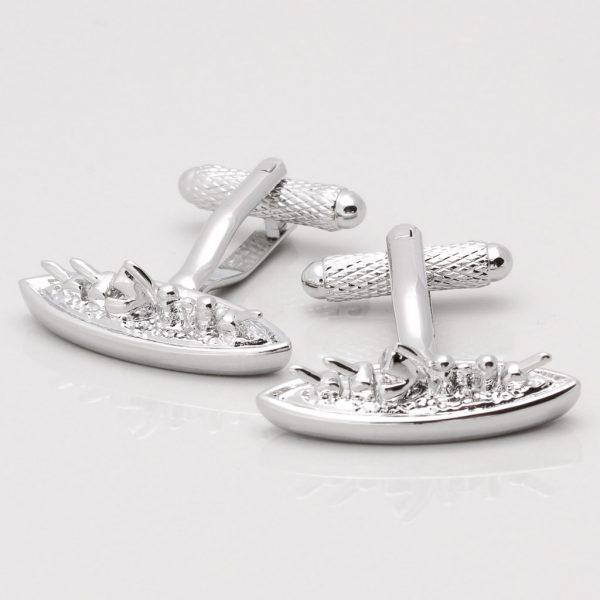Silver Plated Battleship Cufflinks