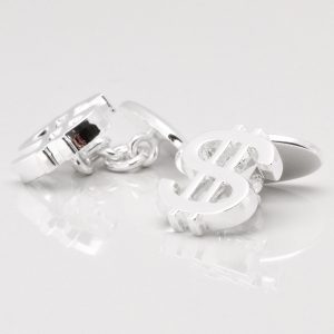 Silver Plated Dollar Sign Cufflinks